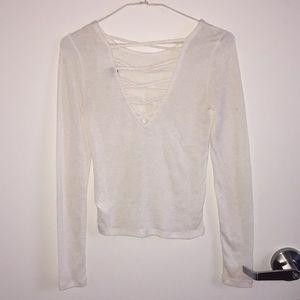 White sweater w/ lace back